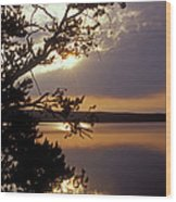 Sunrise At Yellowstone Lake Wood Print