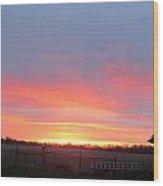 Sunrise Between Farm Barns Wood Print