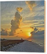 Sunrise Colors Over Navarre Beach With Stormclouds Wood Print