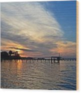 Sunrise Colors With Red Sky At Morning Sailor's Warning Wood Print