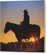 Sunrise Cowboy Wood Print
