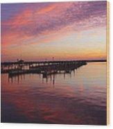 Sunrise Dock Over Lake Huron Wood Print