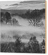Sunrise Fog Black And White Wood Print