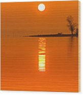 Sunrise Fog On Truman Lake With An Island Wood Print