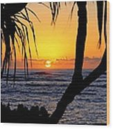Sunrise Fuji Beach Kauai Wood Print