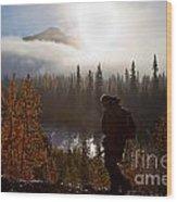 Sunrise Hiker Wood Print by Chris Heitstuman