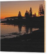 Sunrise In Bar Harbor Maine Wood Print