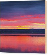 Sunrise In Cayuga Lake Ithaca New York Panoramic Photography Wood Print