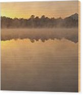 Sunrise In Fog Lake Cassidy With Mount Pilchuck And Reflections  Wood Print