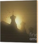 Sunrise In Fog With Old Barn And Steeples With Weather Vanes Wood Print
