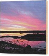 Sunrise In Maine Wood Print