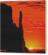 Sunrise In Monument Valley Wood Print