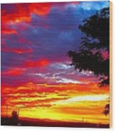 Sunrise In New Mexico Wood Print