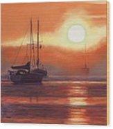 Sunrise In Newburyport Mass Wood Print