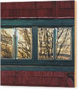 Sunrise In Old Barn Window Wood Print