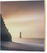 Sunrise In Reynisfjara Wood Print