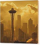 Sunrise In Seattle Wood Print