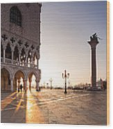 Sunrise In St Marks Square Venice Italy Wood Print