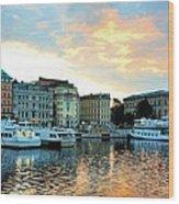 Sunrise In Stockholm Wood Print