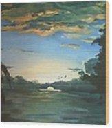 Sunrise  In Tanon Strait Wood Print