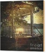 Sunrise In The Gazebo Wood Print
