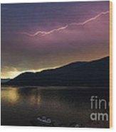 Sunrise Lightning Wood Print
