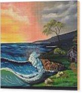 Sunrise Ocean Wood Print