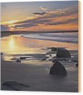 Sunrise On A Beach Near The Port Wood Print