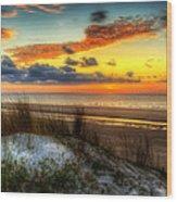 Sunrise On A Jekyll Island Dune Wood Print