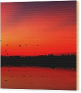 Sunrise On A Loch Wood Print