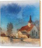 Sunrise On A Rural Church 03 Wood Print