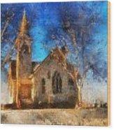 Sunrise On A Rural Church 12 Wood Print