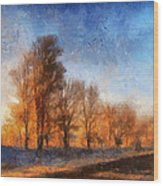 Sunrise On A Rural Country Road Photo Art 02 Wood Print