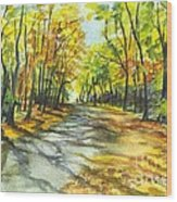 Sunrise On A Shady Autumn Lane Wood Print