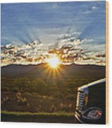 Sunrise On A Traffic Jam Wood Print