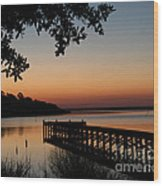 Sunrise On Bogue Sound Wood Print by Cari Gesch