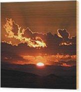 Sunrise On Fire Wood Print