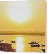 Sunrise On Ganges Wood Print