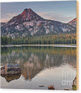 Sunrise On Gunsight Mountain Wood Print