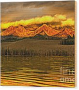 Sunrise On Little Redfish Lake Wood Print