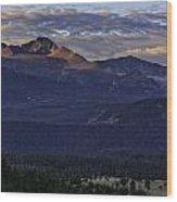 Sunrise On Longs Wood Print by Tom Wilbert