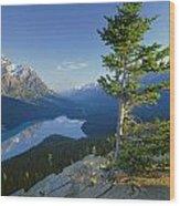 1m3608-sunrise On Peyto Lake Wood Print