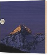 Sunrise On Piz Julier Switzerland With Moon Wood Print