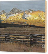 Sunrise On Sawtooth Mountains Idaho Wood Print