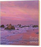 Sunrise On Sea Stacks Harris Sb Oregon Wood Print