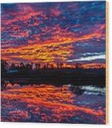 Sunrise On The Fishing Hole Wood Print