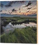 Sunrise On The Marsh Wood Print