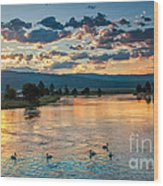 Sunrise On The North Payette River Wood Print