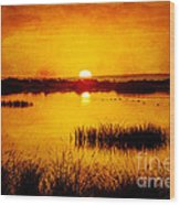Sunrise On The Pond Wood Print
