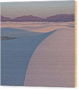 Sunrise On White Sands Wood Print